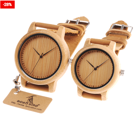 Wood Watch Leather Band Couple Accessory